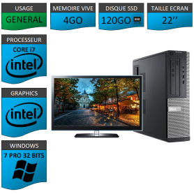 PC Dell Core i7 4Go SSD120 22'' Windows 7 Pro 32