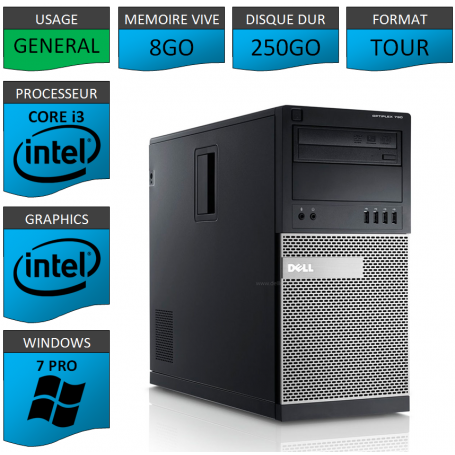 Dell Optiplex 790 Core i3 8go 250Go Windows 7 Pro