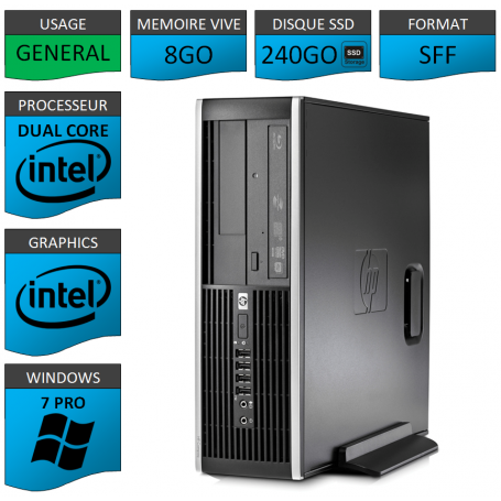 HP Elite 8200 8Go SSD240 W7P