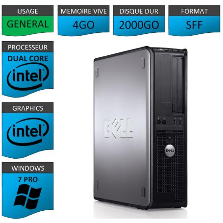 PC DELL OPTIPLEX 4GO 2000GO WINDOWS 7 PRO 64 bits