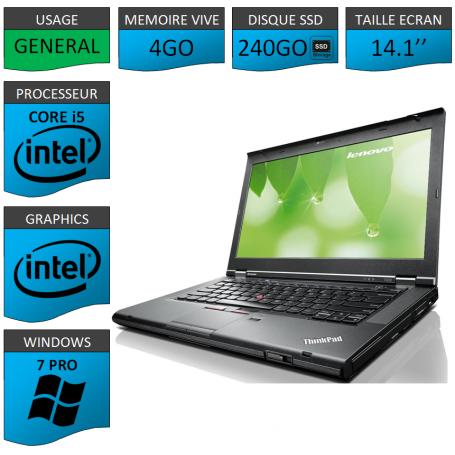Lenovo T430 Core i5 4Go SSD240 Windows 7