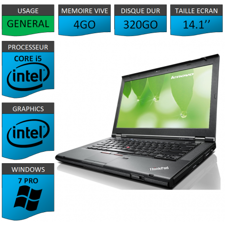 Lenovo T430 Core i5 4Go 320Go Windows 7