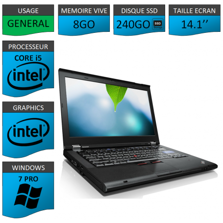 Thinkpad T420 Core i5 8Go SSD240 Windows 7