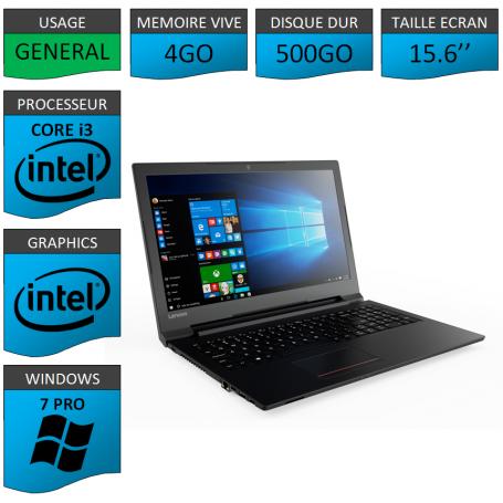 "Lenovo Core i3 4Go 500Go 15.6"" Windows 7 Pro 64"