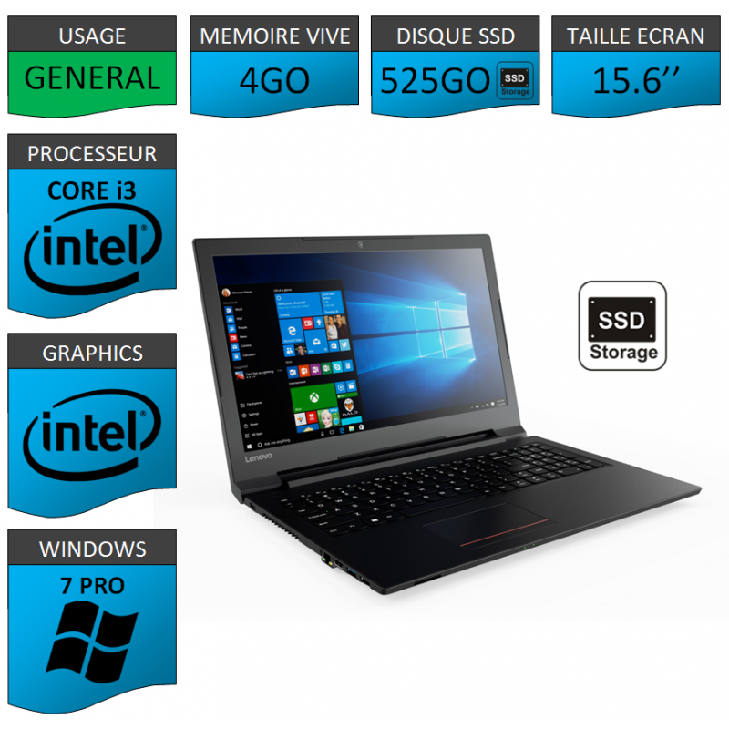 "Portable neuf Windows 7 Pro 64 Lenovo Core i3 4Go 525Go SSD 15.6"""