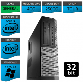 PC DELL Core i5 Windows 7 Pro 32 bits