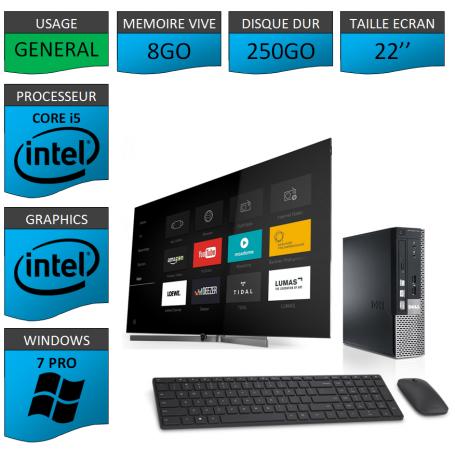 Dell Optiplex usff Core i5 8go 250Go Windows 7 Pro 22''