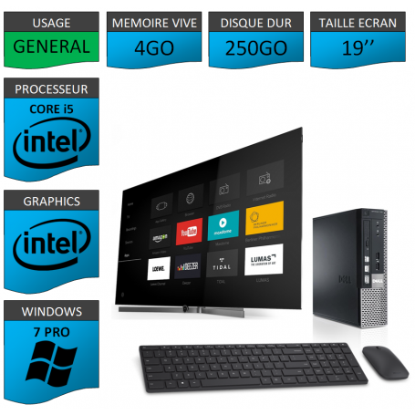 Dell Optiplex usff Core i5 4go 250Go Windows 7 Pro 19''