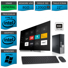 Dell Optiplex usff Core i5 8go 120SSD Windows 10 Pro 22''