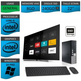 Dell Optiplex usff Core i5 8go 240SSD Windows 10 Pro 22''