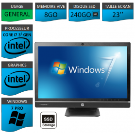 Hp 8300 aio i7 8Go 240SSD Windows 7 Pro