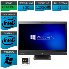 Hp 8300 aio i7 8Go 120SSD Windows 10 Pro