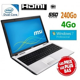"""MSI 15.6"""" Windows 7 Pro 32 disque dur SSD 240 Go ultra rapide"""