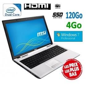"""MSI 15.6"""" Windows 7 Pro 32 disque dur SSD 120Go ultra rapide"""