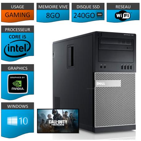 Dell Optiplex 990 Tour Gaming 8Go SSD240 GEFORCE GT 1Go