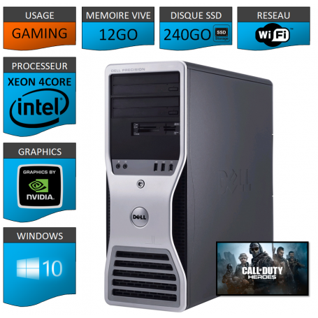 DELL Precision T3500 Tour Gaming 12Go SSD240 GEFORCE GT730 1Go