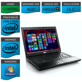 Portable Dell Intel Core 2 Duo 4Go SSD480 Windows 7 Pro 64 bits