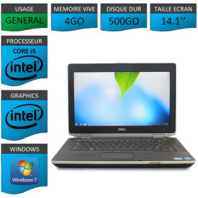Portable Dell e6420 4Go 500Go Intel Core i5 4 Coeurs Windows 7 Pro 64 bits HDMI