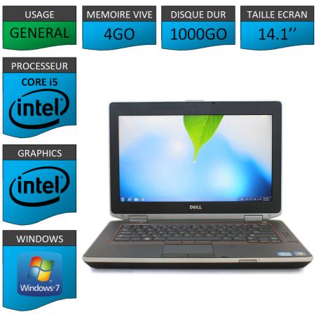 Portable Dell e6420 4Go 1000Go Intel Core i5 4 Coeurs Windows 7 Pro 64 bits HDMI