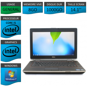 Portable Dell e6420 8Go 1000Go Intel Core i5 4 Coeurs Windows 7 Pro 64 bits HDMI