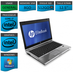 Hp elitebook 2560p Intel Core i7 8Go SSD512 Windows 7 Pro 64Bits