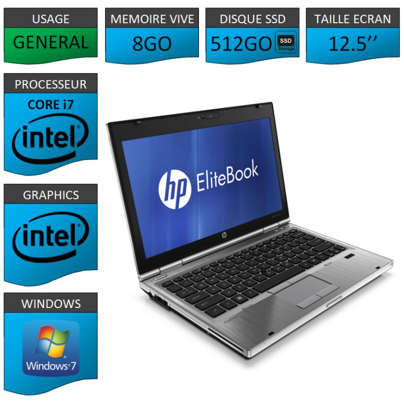 Hp elitebook 2560p Intel Core i7 8Go SSD512 Windows 7 Pro 64Bits
