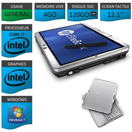 Tablette HP Elitebook 2760p 4Go SSD120 Windows 7 Pro Ecran Tactile