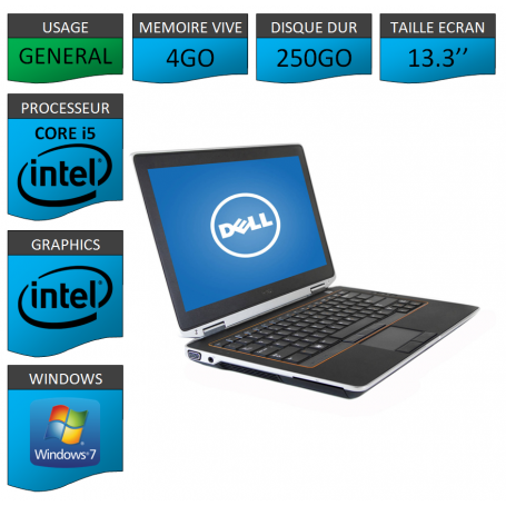 DELL Latitude e6320 4Go 250Go Windows 7 Pro Port HDMI