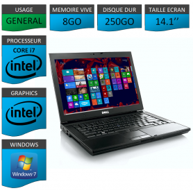Portable Dell 8Go Intel Core i7 4 Coeurs Windows 7 Pro 64 bits