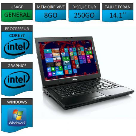 Portable Dell 8Go Intel Core i7 4 Coeurs Windows 7 Pro 64 bits