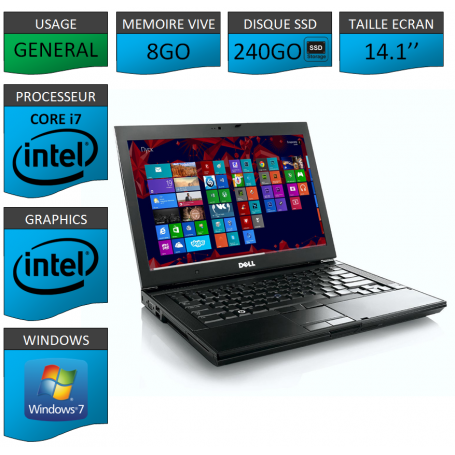 Portable Dell 8Go SSD 240 Core i7 4 Coeurs Windows 7 Pro 64 bits