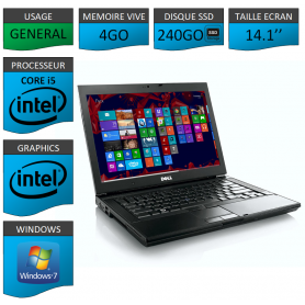 Portable Dell Intel Core i5 4 Coeurs 4Go 250SSD Windows 7 Pro 64 bits