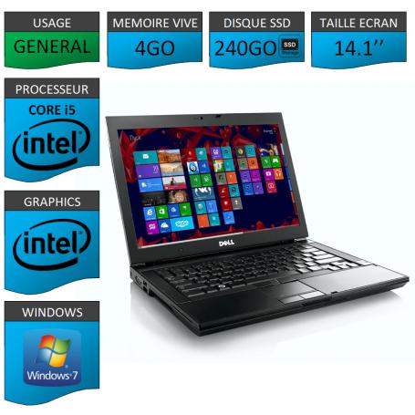 Portable Dell Intel Core i5 4 Coeurs 4Go 250SSD Windows 7 Pro 64 bits