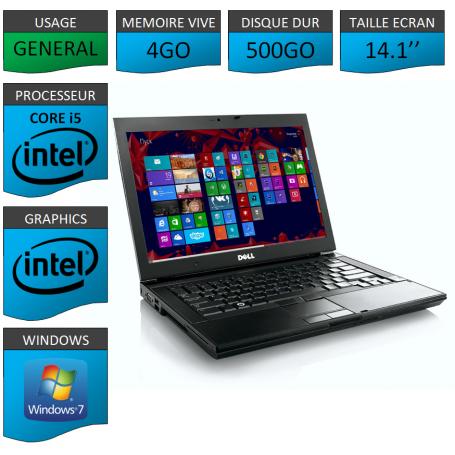 Portable Dell Intel Core i5 4 Coeurs 4Go 500Go Windows 7 Pro 64 bits