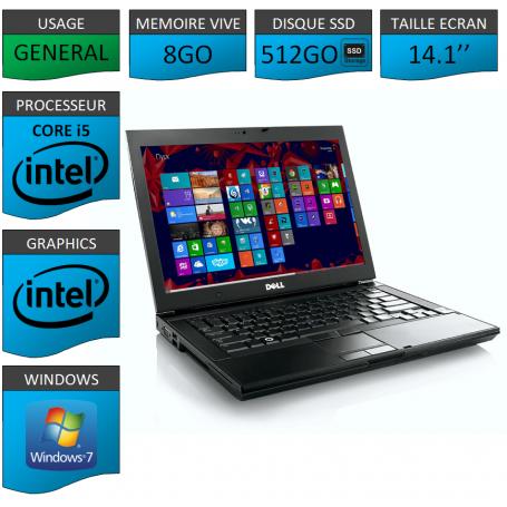 Portable Dell Core i5 4 Coeurs 8Go 512SSD Windows 7 Pro 64 bits