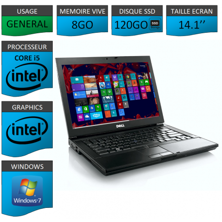 Portable Dell Core i5 4 Coeurs 8Go 120SSD Windows 7 Pro 64 bits
