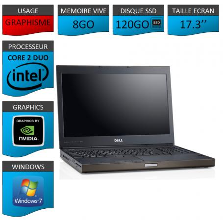 Portable Dell Precision 8Go 120SSD Windows 7 Pro 64 bits Nvidia Quadro