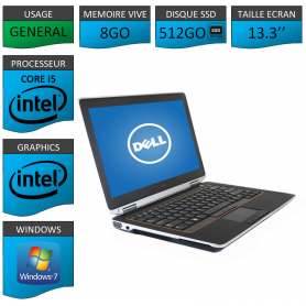 DELL Latitude e6320 8Go SSD512Go Windows 7 Pro Port HDMI