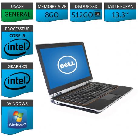 DELL Latitude e6320 8Go SSD512Go Windows 7 Pro Port HDMI