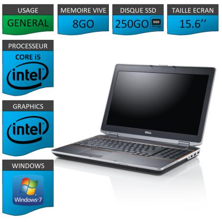 DELL Latitude e6520 8Go SSD 250Go