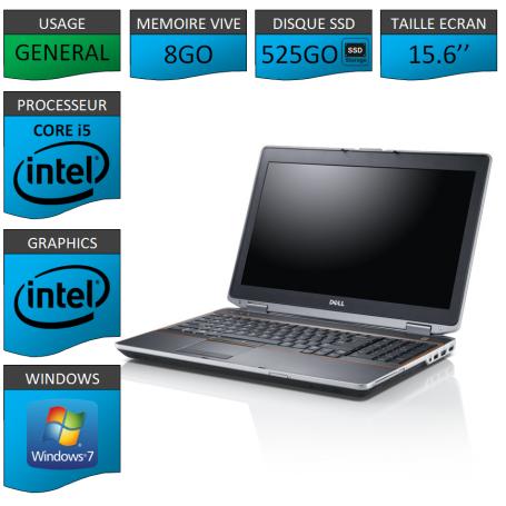 DELL Latitude e6520 8Go SSD 525Go