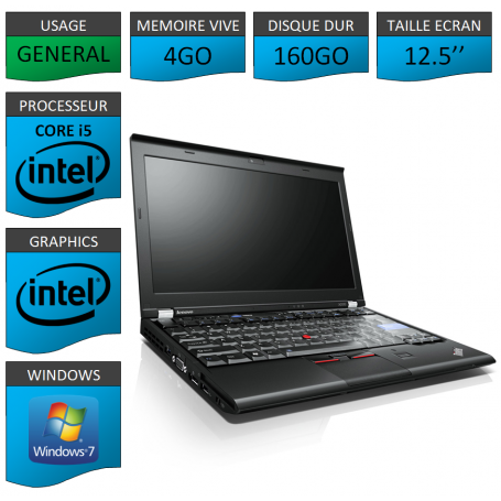 Lenovo X220 4Go 160Go Windows 7 Pro 64