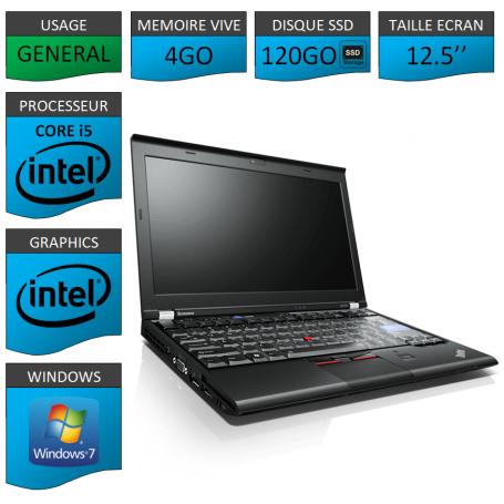 Lenovo X220 4Go 120SSD Windows 7 Pro 64