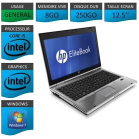 Hp elitebook 2560p Intel Core i5 8Go 250Go Windows 7 Pro 64Bits