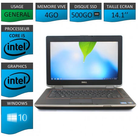 Portable Dell e6420 4Go 500SSD Intel Core i5 4 Coeurs Windows 10 Pro 64 bits HDMI