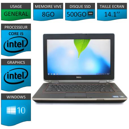 Portable Dell e6420 8Go 500SSD Intel Core i5 4 Coeurs Windows 10 Pro 64 bits HDMI