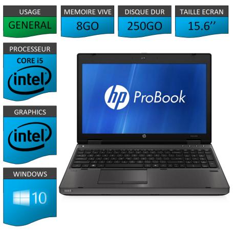 HP Probook 6560b 8Go 250Go Windows 10 Pro Port Serie