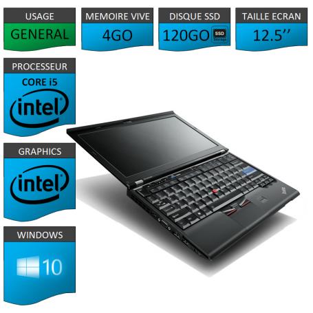 Lenovo X220 4Go 120SSD Windows 10 Pro 64