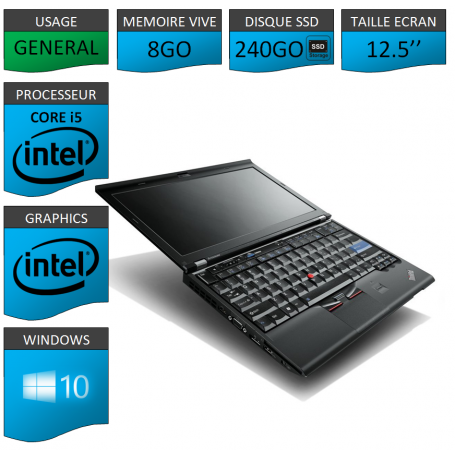 Lenovo X220 8Go 240SSD Windows 10 Pro 64