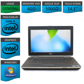 Portable Dell e6420 4Go 500Go Intel Core i5 4 Coeurs Windows 7 Pro 32 bits HDMI